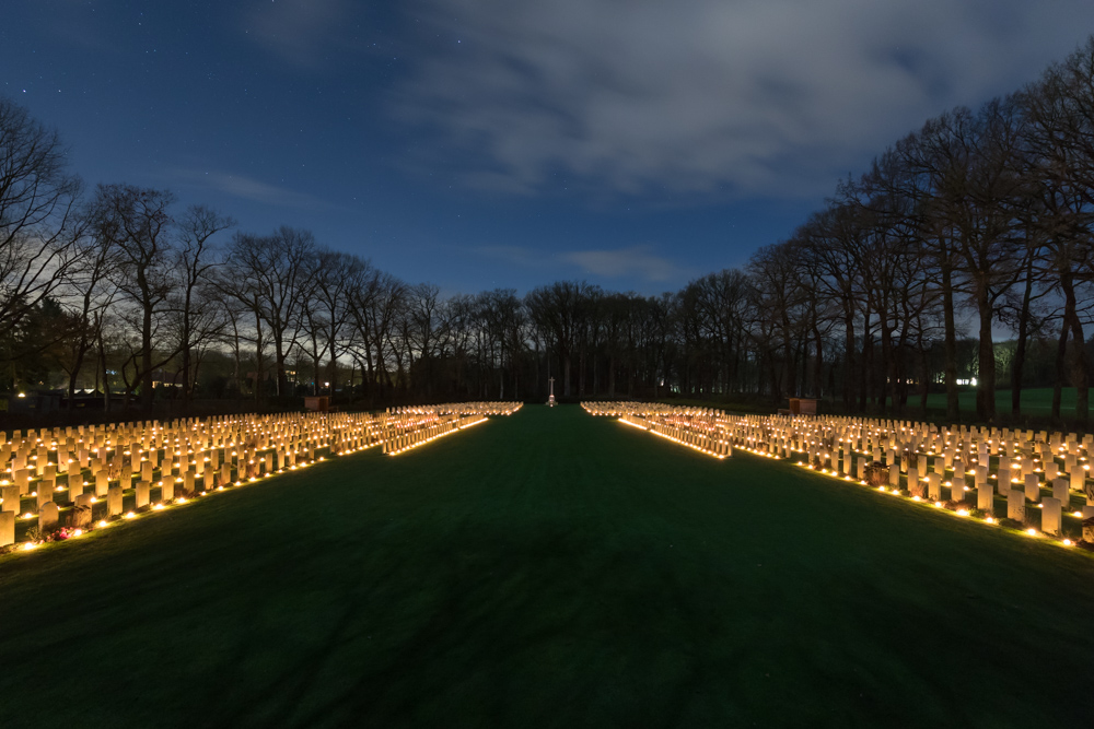 Photo report Candles on Airborne War Cemetery Airborne Cemetery Oosterbeek