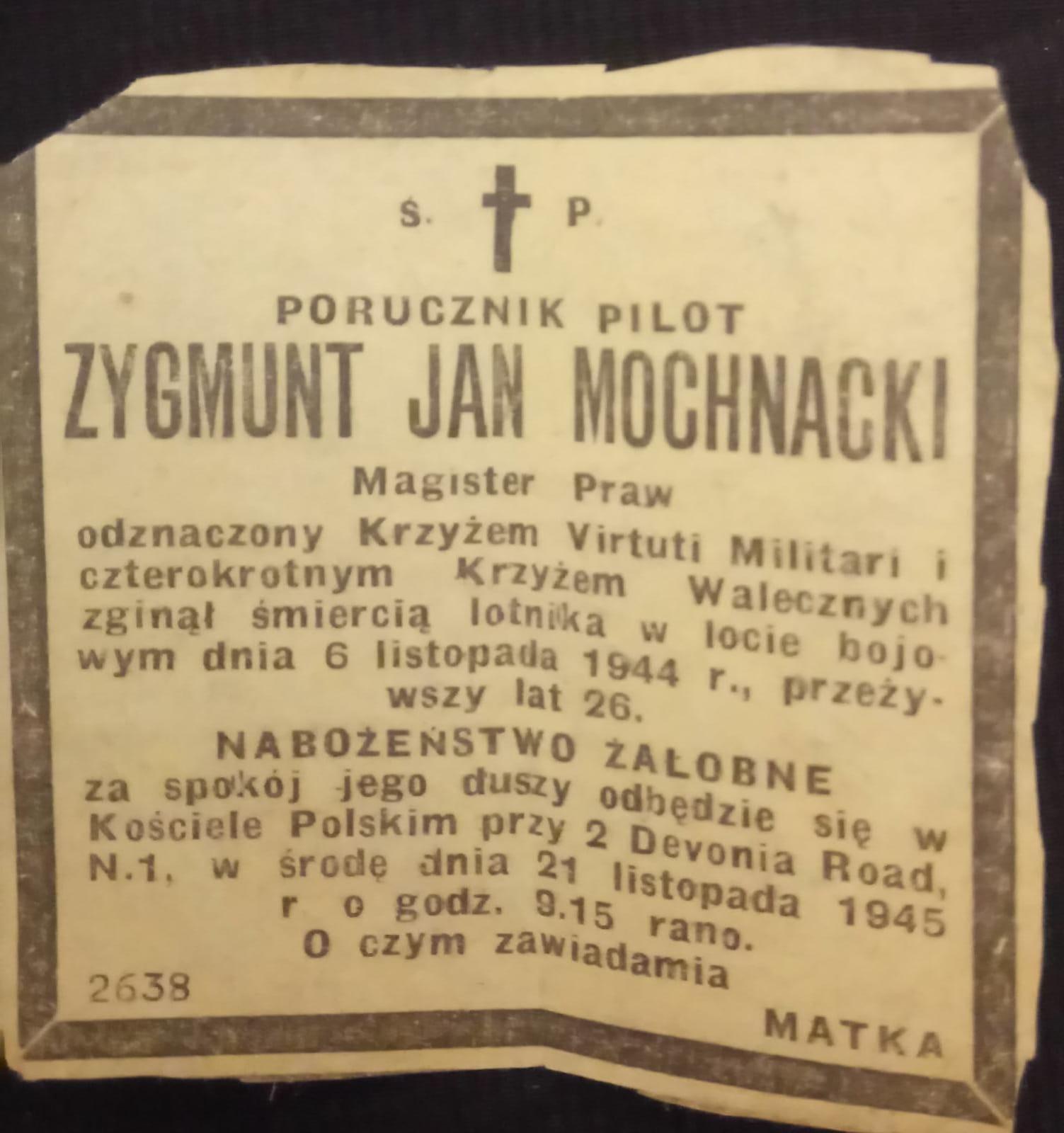 Krantenknipsel herdenkingsdienst Mochnacki
