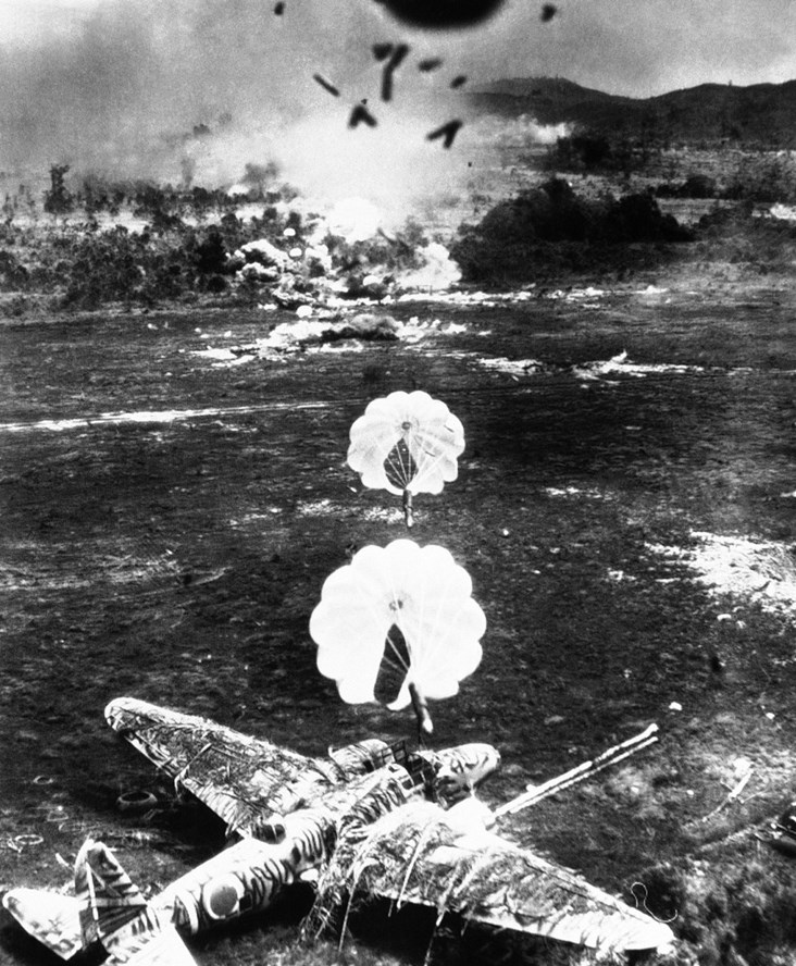 Parachute-Borne Fragmentation Bombs in Action